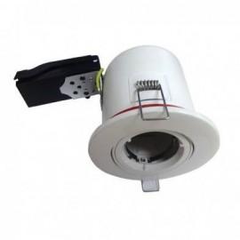 SUPPORT PLAFOND ROND ORIENTABLE Blanc avec douille automatique Ø100 mm